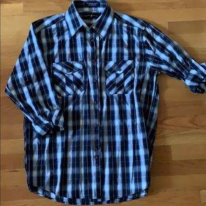 Blue and white plaid button down, size L